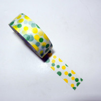 Bright Yellow and Green Polka Dot Washi Tape
