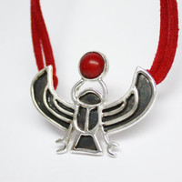 Sterling Silver Pendant &quot;Egyptian scarab&quot; with red coral - one of a kind