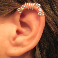 "No Piercing ""Silver Peacock"" Cartilage Ear Cuff for Upper Ear 1 Cuff COLOR CHOICES"