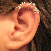 No Piercing &quot;Silver Peacock&quot; Cartilage Ear Cuff for Upper Ear 1 Cuff COLOR CHOICES