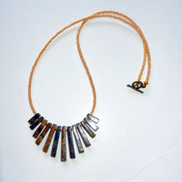Brown and Gold Beaded Fan Necklace