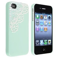 Hand Made Lace and Pearl Green Hard Case Cover for iPhone 4 4G 4S: Cell Phones & Accessories