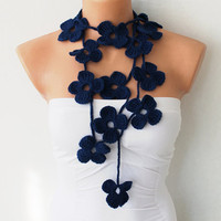 Navy Blue Flowers Hand Crochet Lariat Scarf by fairstore on Etsy