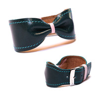 Leather bow bracelet cuff bangle - adjustable modern leather jewelry stylish unique gift for women - turquoise mint pink silver