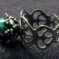 Vintage ring with Peacock Freshwater Pearl by GryphonDesigns