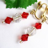Crystal Clip On Earrings, Red Swarovski Bicones, Clear Twisted Rounds