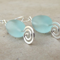 Aqua Sea Glass Earrings:  Seafoam Green &amp; Hammered Silver Spiral Beach Jewelry