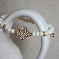 Anthology27, Sweet love bracelet in white, crystals and gold