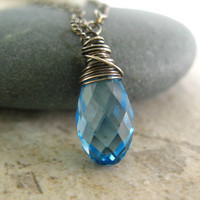 Blue Pendant Necklace, Sterling Silver Jewelry, Aquamarine Crystal Necklace
