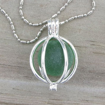Irish Green Sea Glass Marble Locket Necklace