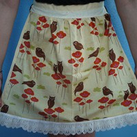 Vintage Inspired Owls in Trees Half Apron by OliveTreeHandmade