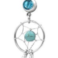 Amazon.com: Aqua Dream Catcher Navel Ring Belly Rings Body Jewelry: Jewelry