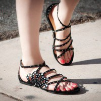Bumper Sarah-88 Flower Cut Out Studded Strappy Sandals (Black) - Shoes 4 U Las Vegas