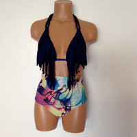 Tie dye fringe retro swimsuit