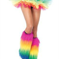 AccessoryGeeks - Halloween Sale - LegAvenue Costume Furry RainboLeg Warmers - 3925 Free Shipping!