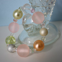 Pastel Pink, Yellow, Orange, Green Stretch Beaded Bracelet