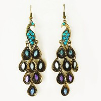 Gemstone Peacock Dangle Earrings