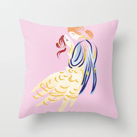 Belle And Prince Adam I Disney Throw Pillow by Jessica Slater Design & Illustration