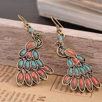 Multicolor Peacock Dangle Earrings