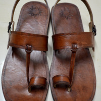 Moroccan Inspired Sling Back Leather Sandals-Handmade Sandals , Indian Leather Sandals, Ladies, Mens, Custom made - ALL SIZES