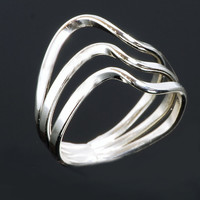ON SALE Triple Wave Ring - Triple Band Ring - Silver Ring - Argentium Sterling Silver - Handmade
