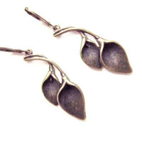 Morning Glory Earrings,  Ancient Bronze  Earrings, Tulip Leaf,