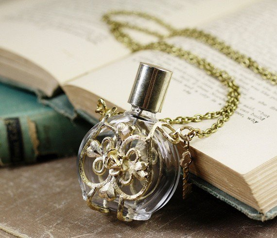 Bottle necklace perfume love potion gold filigree by mylavaliere