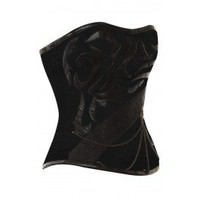 VG-109 - Black Patterned Jute Overbust Corset