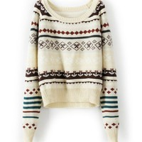 Beige Loose Long Sleeve Tribe Sweater