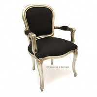 Fabulous & Baroque ? Fabulous French Upholstered Armchair - Silver Leaf