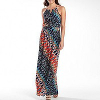 Bisou Bisou? Printed Tie-Neck Maxi Dress : dresses : women : jcpenney