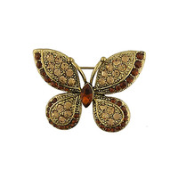 12K gold plated butterfly brooch with Swarovski crystal - 