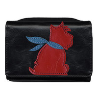 Dog applique vegan leather small wallet by LAVISHY  - 