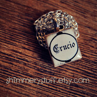 Harry Potter Pendant Crucio Scrabble Tile by shimmerystuff on Etsy