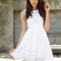 White Sleeveless Dress with Eyelet Embroider Detail