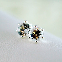 NEW April Birthstone Earrings, Stud Earrings, Genuine White Topaz Gemstone, Child Children Girl, Sterling Silver Jewelry