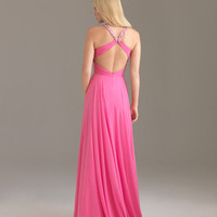 Purple Chiffon Rhinestone Halter Open Back Prom Dress - Unique Vintage - Prom dresses, retro dresses, retro swimsuits.
