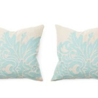 One Kings Lane - Pillows that Pop - Flora 18x18 Pillows S/2, Turquiose