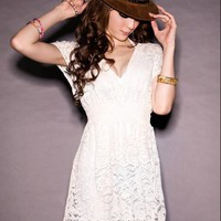 YESSTYLE: I'Miusa- V-Neck Short-Sleeve Lace Dress (White - One Size) - Free International Shipping on orders over $150