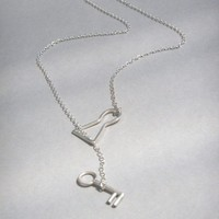 Silver Lock and Key Necklace by bbel on Etsy