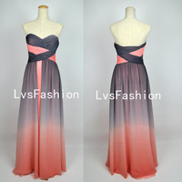 A Line Strapless Sweetheart Long Chiffon Prom Dresses, Homecoming Dresses, Bridesmaid Dress, Evening Dress