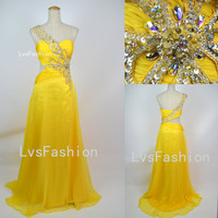 One Shoulder Sweetheart with Beading Chiffon Long Yellow Prom Dresses Evening Gown, Party Dresses