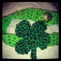 Crocheted four leaf clover shamrock headband