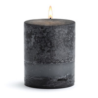 Stone Candles - Black Bamboo Pillar Candle - 3x3