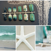 "Artificial Nails - ""Caribbean Cruise"" -  Mint/Turquoise, Teal, Dark Blue, & White, Hand Painted, Fake Nails"