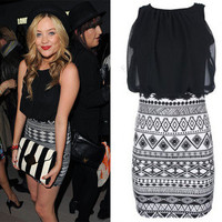 LADIES CONTRAST AZTEC PRINT BODYCON SKIRT WOMENS CHIFFON TOP DRESS 8-14