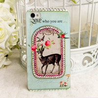 Original Retro Deer Crystal Bling Bling Phone Case