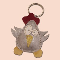 Silver Disco Chick Leather Animal Keychain by snis on Etsy