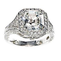 Asscher-cut diamond engagement ring