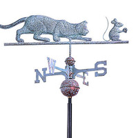 One Kings Lane - Outdoor Accents - Verdigris Copper Cat &amp; Mouse Weathervane